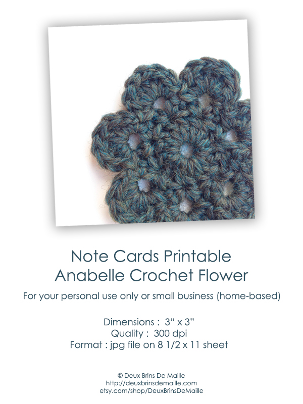 Free Knitting Patterns To Print Off : Free Knit Crochet Printable NoteCards Deux Brins de Maille